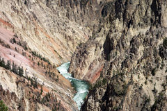 Water rushing in the grand canyon at yellowstone park Stock Images