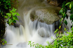 Water rushing over rock. Closeup of water rushing over rock with green leaves and foiliage royalty free stock photography