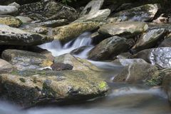 Water Rushing over Rocks, Great Smoky Mountains National Park stock image