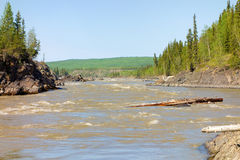 Water rushing during the springtime thaw in northern canada Royalty Free Stock Images