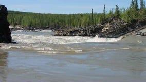 Water rushing during springtime in the yukon stock footage