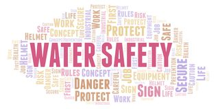 Water Safety word cloud. Word cloud made with text only royalty free illustration