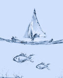 Water Sailboat and Fish Royalty Free Stock Image