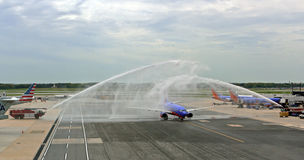 Water Salute for retireing Sourhwest airplane or p Stock Photo