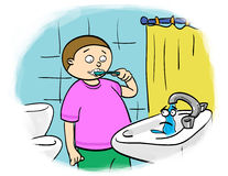 Water saving. Child brushes their teeth, shut off the tap Royalty Free Stock Image
