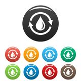 Water saving icons set color vector illustration