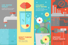 Water savings flat banner set. Flat banner set of reusing and saving water more efficiently, water consumption by people and in manufacturing industry, water stock illustration