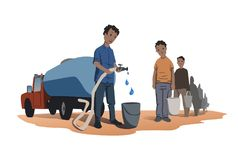 Water scarcity concept. African people stand in line for water. The water truck. Vector illustration isolated on white. Water scarcity concept. African people vector illustration