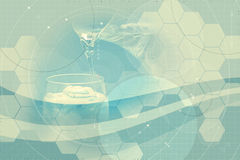 Water science. Abstract illustration of water being poured from one glass to another on a scientific grid background Royalty Free Stock Photo