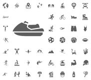 Water scooter icon. Sport illustration vector set icons. Set of 48 sport icons. Water scooter icon. Sport illustration vector set icons. Set of 48 sport icons Stock Images