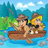 Water scouts on river. Eps10 vector illustration Stock Photo