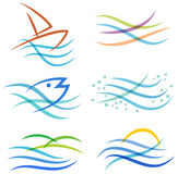 Water Sea Logo. A set of water river stream ocean sea logo elements stock illustration