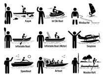 Water Sea Recreational Vehicles and People Set Clipart. Vector set of water recreational vehicles that includes kayak, jet ski boat, windsurfer, inflatable boat Royalty Free Stock Photo