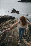 Water, Sea, Rock, Girl Stock Photography