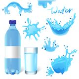 Water set. Water bottle, glass of water and water splashes set Stock Image