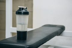 A water shaker lies on the rack in the training center. training tools in the gym close-up stock images