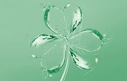 Water Shamrock. A green shamrock (3-leaf clover) made of water for Saint Patrick's Day Stock Photo