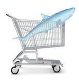 Water shark in shopping cart Stock Images