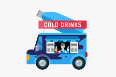 Water shop food car icon. Nature product, vitamin. Symbol, auto restaurant, mobile kitchen, fresh nature drinks, fastfood, blue, vegans. Design elements Royalty Free Stock Images