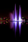 Water show. Beautiful colored water show with fountains reflection and music Royalty Free Stock Image
