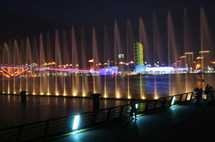 A Water Show Looking Across the Huangpu River Royalty Free Stock Images