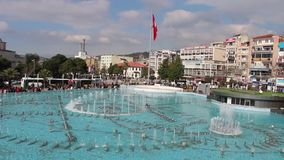 Water show in the pool. Aydin city square water show in the pool stock footage