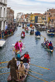 Water show on Venetian canal Royalty Free Stock Photo