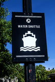 Water Shuttle sign. The sign directing you to the water shuttle in Charlestown Massachusetts Royalty Free Stock Photography