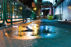 Water on side walk after midnight royalty free stock photos