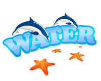 Water sign with dolphins Royalty Free Stock Images