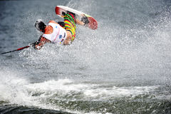 Water Ski In Action: Man Shortboard Tricks Stock Photos