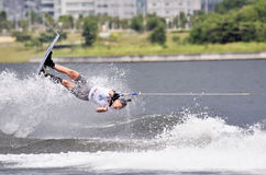 Water Ski In Action: Woman Shortboard Tricks Stock Images
