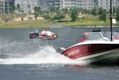 Water Ski In Action: Woman Shortboard Tricks Royalty Free Stock Image