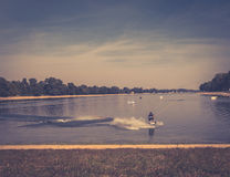 Water ski. Ada lake, Belgrade Serbia, with haze effect Royalty Free Stock Images
