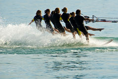 Water ski ballet. At the summer night celebration on the lake of constance, Germany royalty free stock image