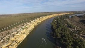 Water ski Big Bend on River Murray near Nildottie stock footage