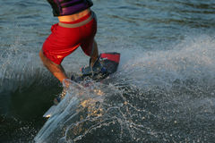Water Ski Boarder Splash. Close up of a water ski boarder making waves and detailed splash Stock Photography