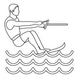 Water ski icon, simple style Royalty Free Stock Photography