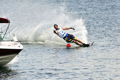 Water Ski World Cup 2008 In Action: Man Slalom. From 7 to 9 November 2008, the International Water Ski Federation (IWSF) staged its 25th Waterski World Cup Stop Royalty Free Stock Photos