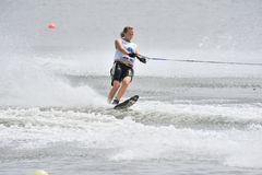 Water Ski World Cup 2008 In Action: Woman Slalom Royalty Free Stock Photography
