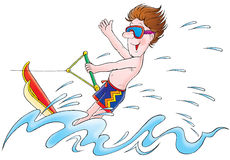 Water Skier. Isolated clip-art / illustration for yours design, postcard, album, cover, scrapbook, etc Stock Photo