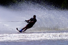 Water Skier... Silhouette of a water skier in action Stock Image