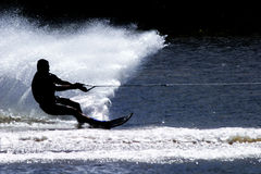 Water Skier... Silhouette of a water skier in action Stock Photography