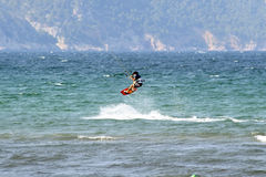 Water-skier in mid-jump Royalty Free Stock Photography