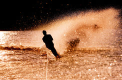Water Skier Silhouette. Silhouette of a water skier Royalty Free Stock Photo