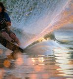 Water Skier Wake. Close up of a Water Skier wake at sunset royalty free stock photos