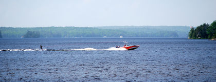 Water-skiing royalty free stock images