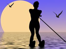 Water-skiing. Silhouette of watwrskiing girl with sun and birds Royalty Free Stock Photography