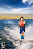 Water Skiing. A man water skiing on a lake Stock Photo