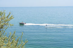 Water skiing in Black Sea near Koktebel, the Crimea, Ukraine Royalty Free Stock Images